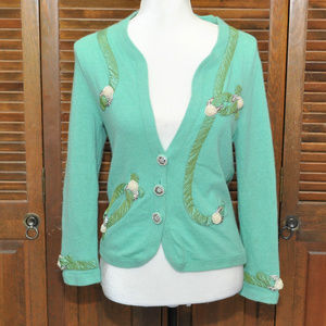 Anthropologie Cropped Green Pearl Sweater Sz S